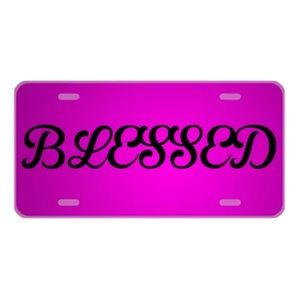 Custom license plate Blessed in hot pink design
